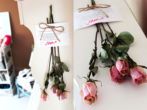 Love note from Mom with room and flowers in focus