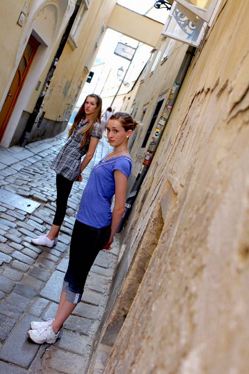 Bratislava - Tessa and Millay on side street