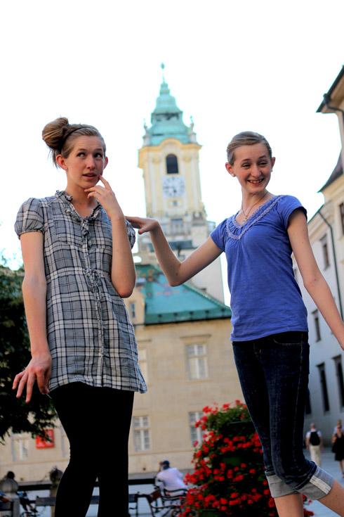 Bratislava - Tessa and Millay goofing off