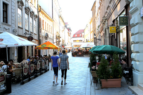 Bratislava - Tessa and Millay walking away