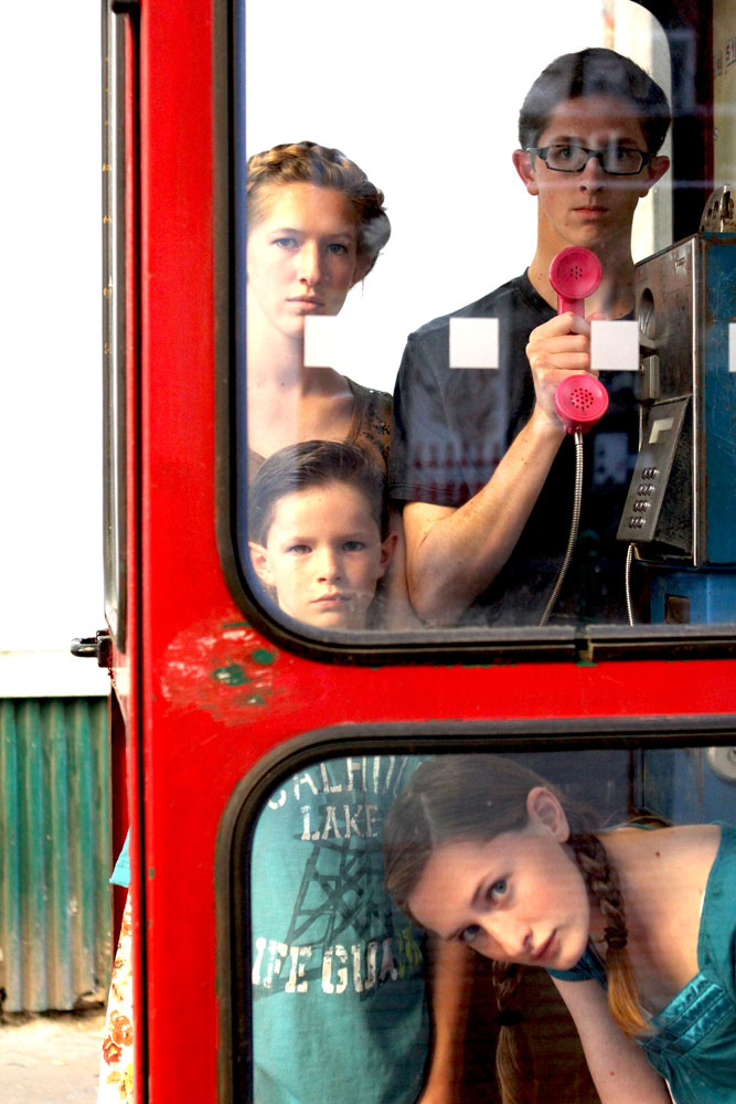 Budapest - Kids in a Phone Booth - Phoning